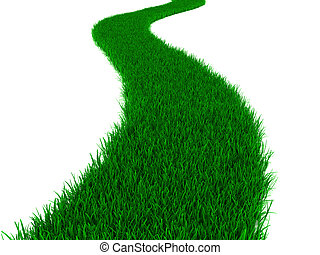 grass road - abstract 3d illustration of green grass road,...