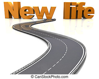 road to new life - abstract 3d illustration of asphalt road...