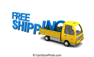 free shipping - 3d illustration of yellow truck with free...