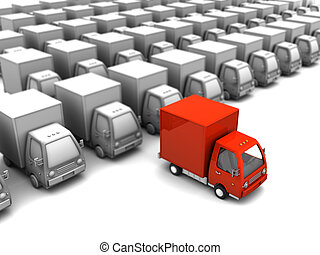 selected delivery truck - 3d illustration of red delivery...