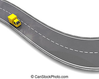 delivery truck on road - 3d illustration of yellow truck on...