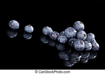 Blueberries isolated on black - Delicious blueberries...