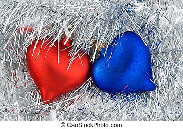 Christmas red and blue ornaments. - Christmas red and blue...