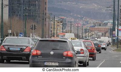 Sarajevo, Novi grad, rush hour - SARAJEVO, BOSNIA AND...