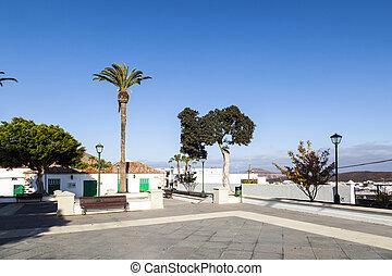 empty market place in Yaiza, Lanzarote
