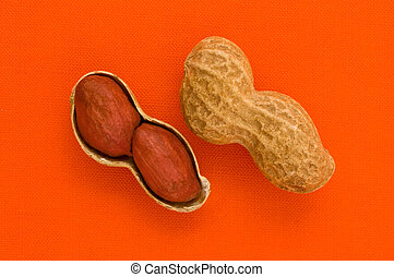 Two peanuts - Two peanuts on orange background, close up...