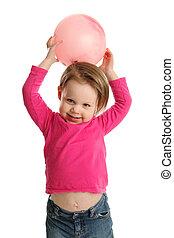 jovem, menina, segurando, bola, mostrando, umbigo