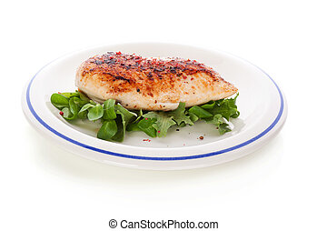 Delicious chicken breast fillet - Delicious chicken steak on...