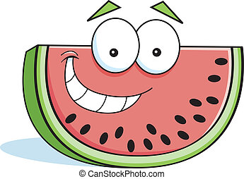 Cartoon watermelon - Cartoon illustration of a smiling slice...