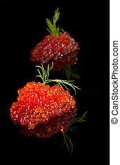 Caviar isolated on black. - Luxury food. Caviar isolated on...
