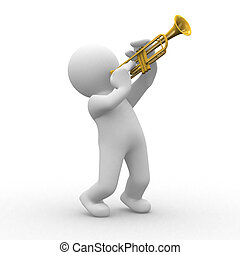 Trumpet - 3d human plays with his trumpet