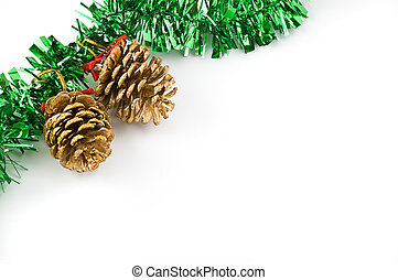 Two golden cones. Christmas decoration isolated on white...