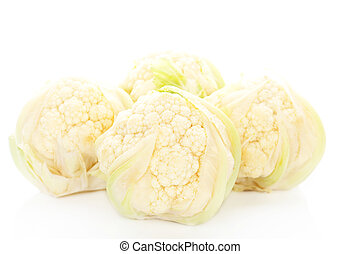 Baby cauliflower. - Four baby cauliflower isolated on white...