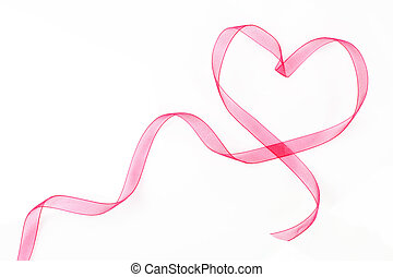Heart shaped ribbon with copy space. - Pink ribbon heart...
