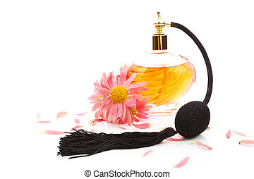 Femininity Perfume and flower blossom isolated - Luxurious...