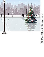 Christmas tree on street