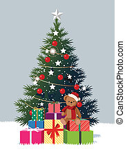 christmas tree and gifts - this illustration is the general...