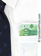 Corruption - Businessman with white shirt with blue tie and...