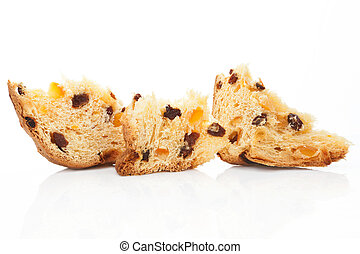 Fruit cake pieces. - Panettone fruit cake pieces isolated on...