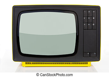 Antique yellow television. - Old yellow retro styled...