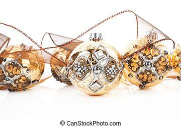 Luxurious golden christmas balls. - Luxurious antique golden...