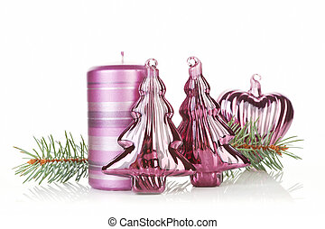 Purple christmas still life. - Christmas still life with...