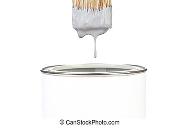 Painting - Grey paint dropping from brush into can isolated...