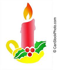 boże narodzenie, świeca, ostrokrzew