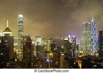 Hong Kong bay at night
