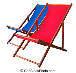 Two Deckchairs isolated with clipping path