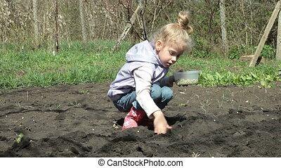 Little Girl Planting Peas on Smallholder Farm