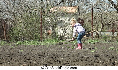 Little Gardener Digging - Little Girl Gardener Digging on...