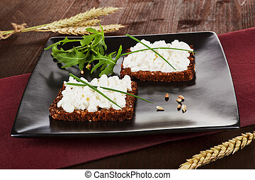 Dark bread slices with cottage cheese Delicious healthy...