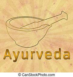 Ayurveda text and Mortar with Brown - Image of Ayurveda and...