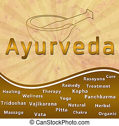 Ayurveda text keywords Mortar with - Image of Ayurveda...