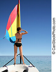 Girl on the sail boat - A beautiful woman on the sail boat