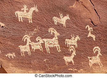 Ute Petroglyphs in Arches National Park - Ute Petroglyphs...