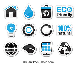 Ecology, green, recycling icons