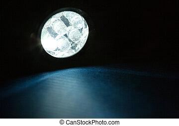 LED Flashlight close up shot