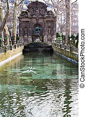 Medici Fountain in luxembourg garden in Paris - Fontaine de...