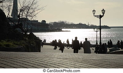 Urban Scene - People On Embankment