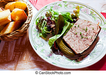 french meat pate on plate in restaurant
