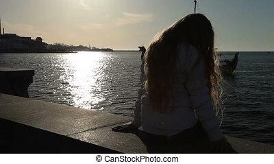 Little Girl On Embankment