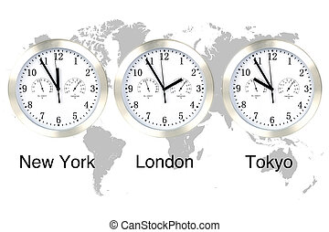 World time. - World time zones. Time in London, New York and...