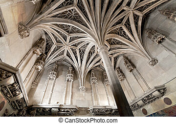 arch ceiling of medieval chapel