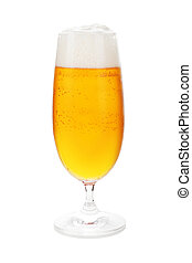 Pilsner in beer glass isolated - Draught beer in beer glass...