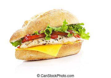 Chicken sandwich. - Ciabatta chicken sandwich with fresh...