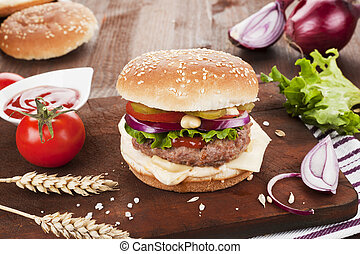 Country style hamburger - Big country style hamburger with...