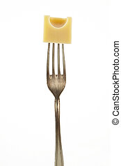 Emmentaler piece on fork - Emmental piece on fork isolated...
