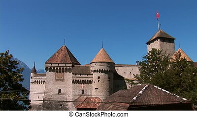 Chillon Castle J - an island castle located on the shore of...